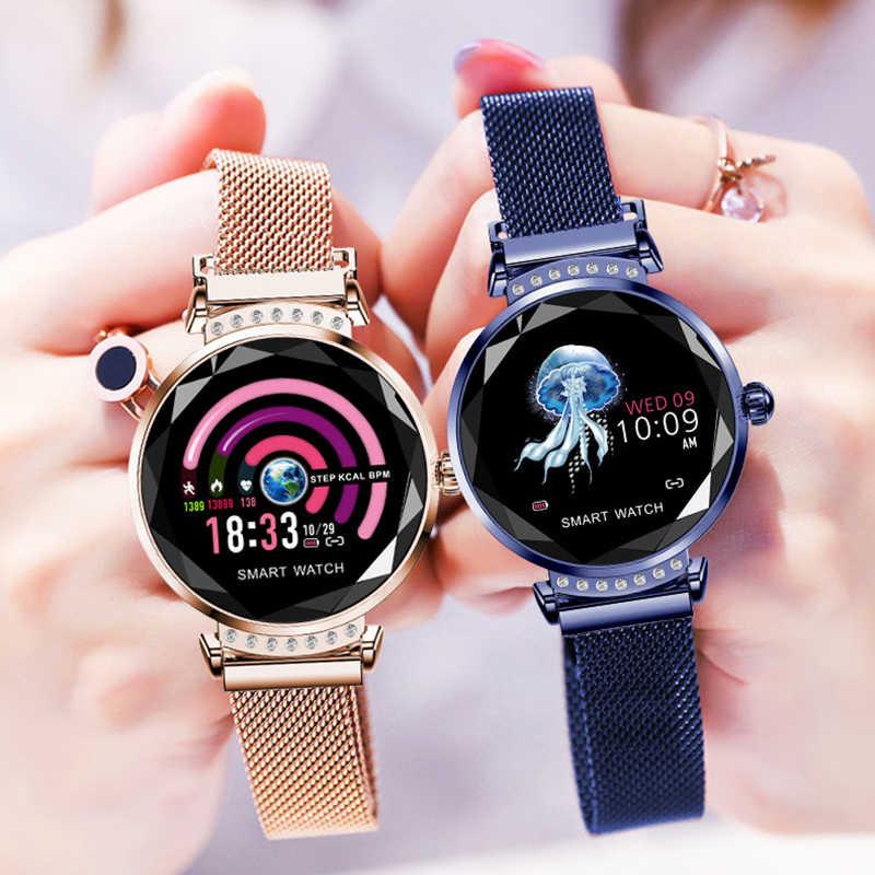 Reloj inteligente de lujo LEMFO H2 para mujer, reloj inteligente a prueba de agua, reloj inteligente de moda para señoras, rastreador de ritmo cardíaco para Android IOS, regalo para teléfono H1