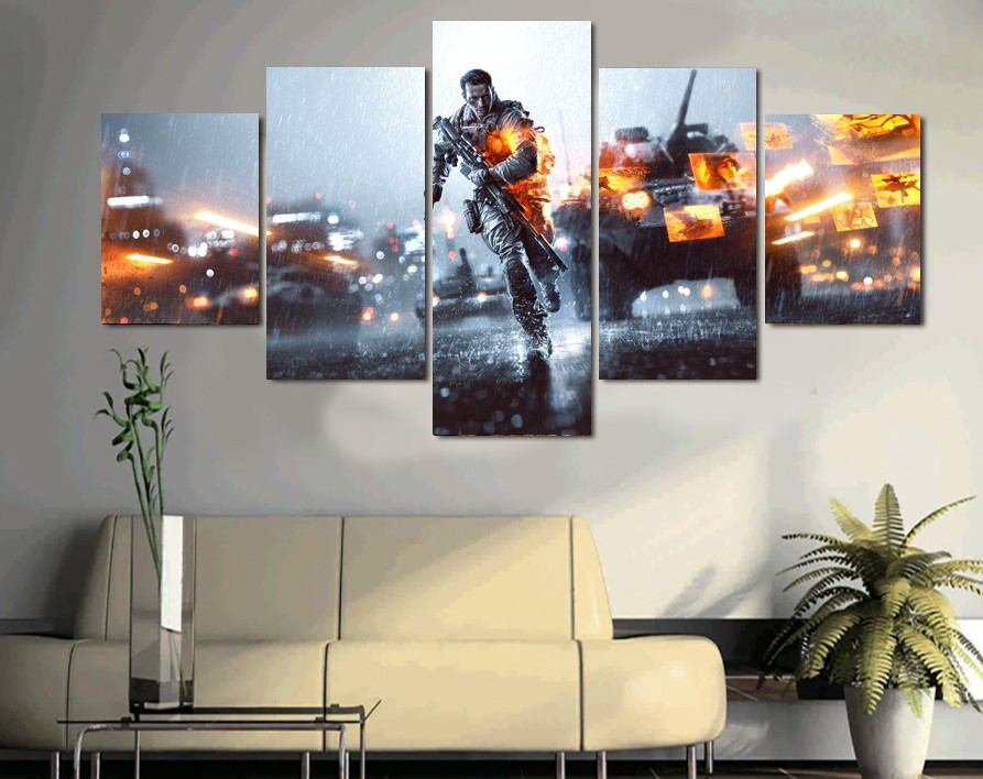 Wall Art 5 Pieces Modern Frame Canvas Pictures Printed Game Battlefield Soldiers Paintings Living Room Home Decor Poster Bedroom