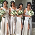 2016 Sexy Beige High Side Long Bridesmaid Dresses Cheap Delicate Appliques Appliques V-neck Spaghetti Long Dress Formal Party