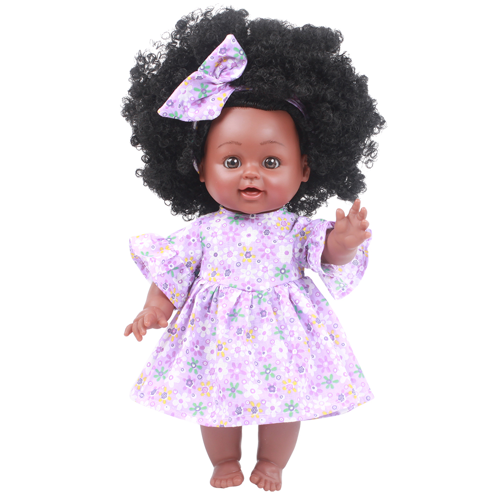 35CM Soft Silicone Reborn Baby Dolls Realistic Vinyl Doll Black African Reborn Purple Dress Children Cheap Toys