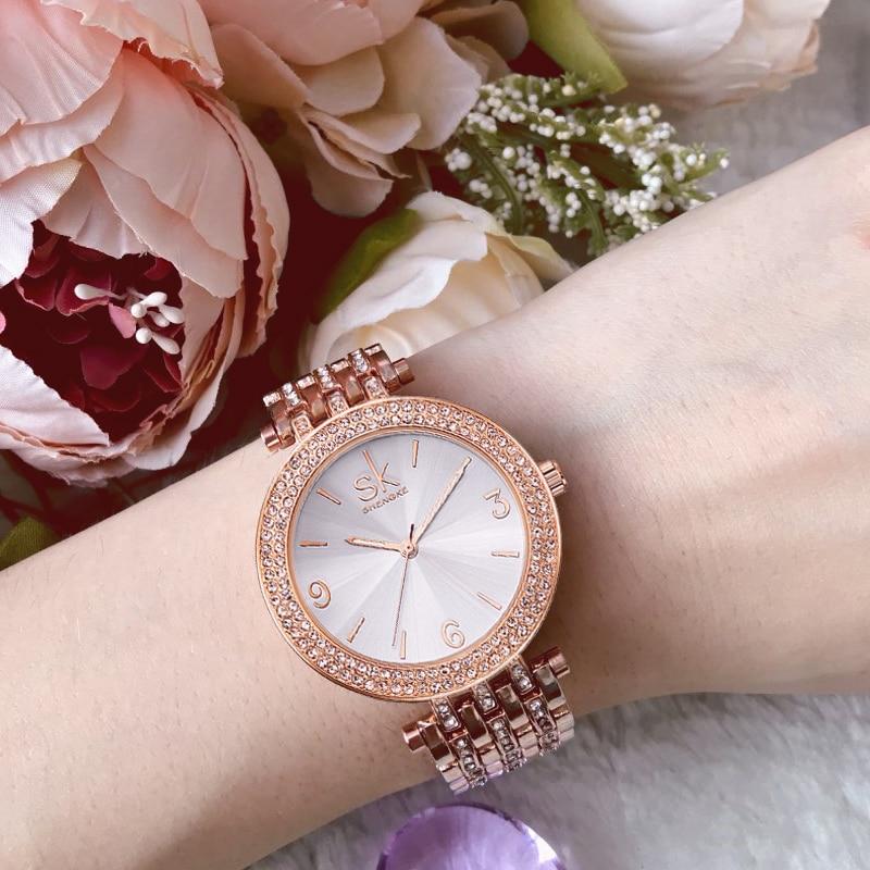 Shengke Luxury Watches Women Rhinestone Bracelet Watches Ladies Quartz Wristwatch Relogio Feminino 2018 Female Clock #K0011 ladies women watches 2017 fashion women rhinestone bracelet watches analog quartz wristwatch ladies clock relogio feminino