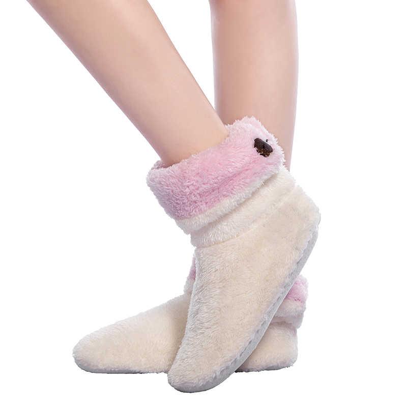 2018 Yeni Toptan Kadınlar Kalın Peluş Ev Çizmeler Peluş Kapalı Kat ayakkabı Kış ayak ısıtıcı Yumuşak alt botlar