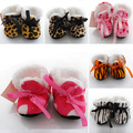 High Quality Leopard Zebra Toddler Kids Fleece Fur Boots Baby Shoes Winter Laced Ankle Socks