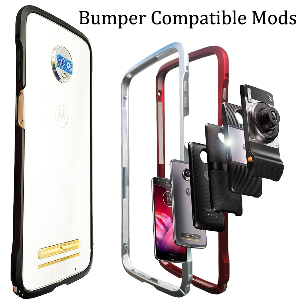 size 40 c8a7f 6f2b6 Bumper Case for Motorola moto Z3 Play Z2 Play Z2 force Compatible Moto Mods  Aluminum Metal Frame Bumper cover Shockproof