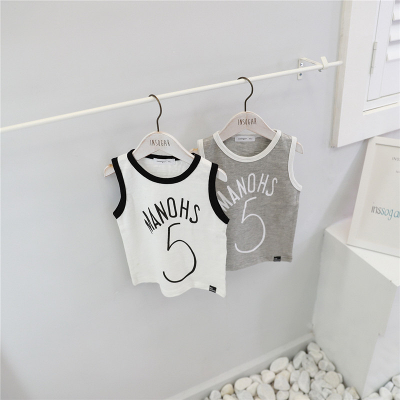 Clearance ! Number 5 Toddler Boy Tank Undershirt Baby Girl Summer Clothes High Quality Cottons Tank for Boy Korean Style T-shirt