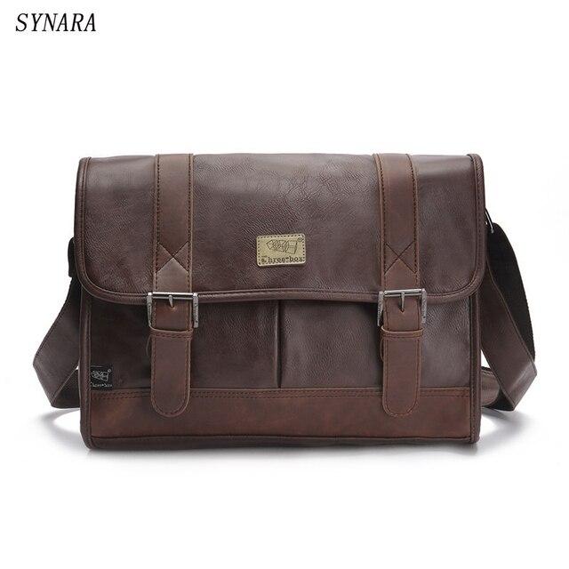 Nuevo 2017 de la alta calidad de los hombres de bolsos de cuero de la pu bolsas de mensajero de los hombres bolsas de viaje de Metal cremallera de negocios Portátil bolsa de hombro 3 colores