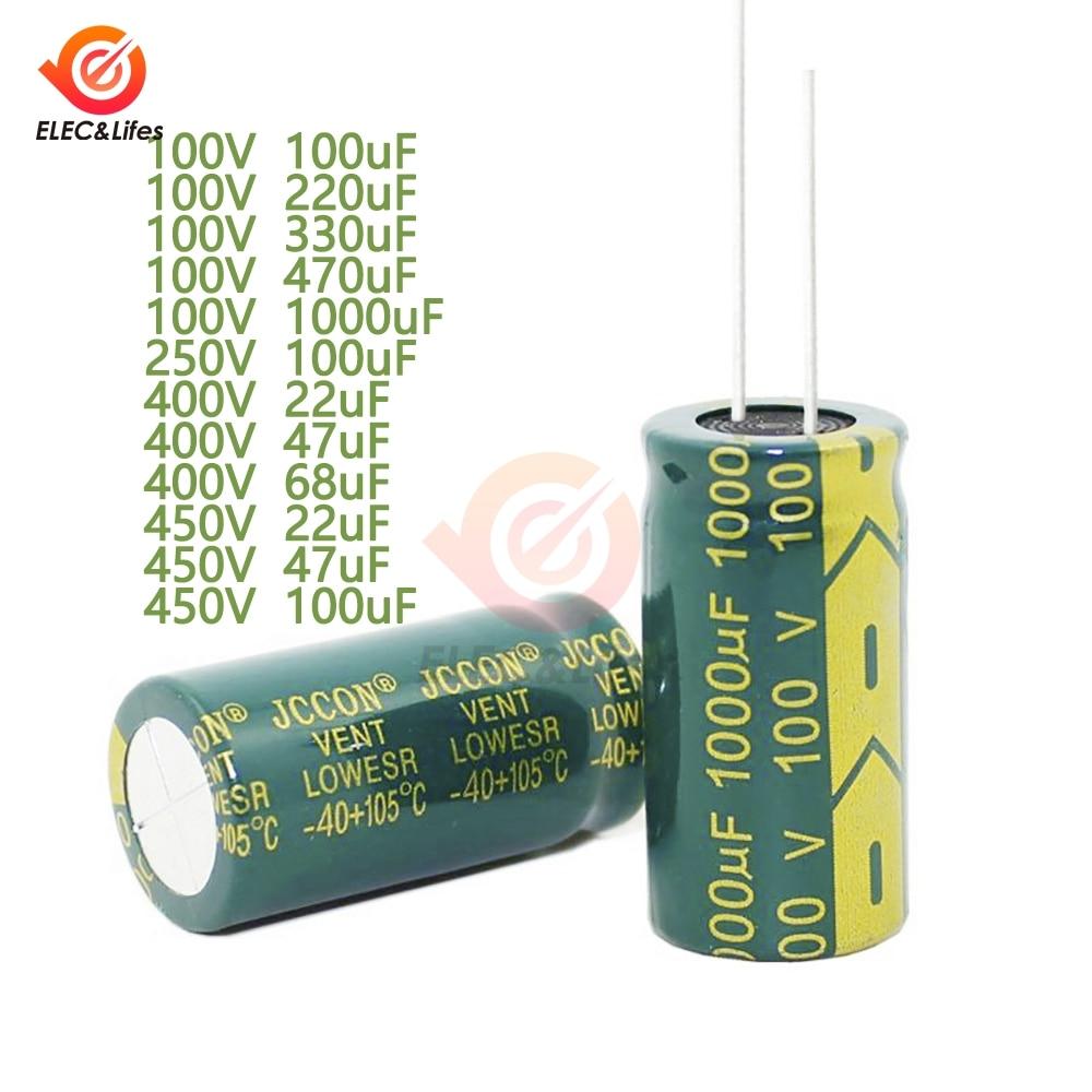 10pcs/Lot Electrolytic Capacitor 100V 250V 400V 450V 22uF 47uF 68uF 100uF 220uF 330uF 470uF 1000uF High Frequency Low Resistance