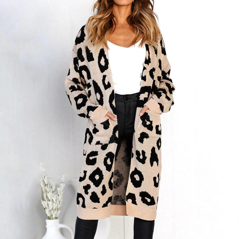 Frauen Kleidung & Zubehör Sonderabschnitt Baharcelin Frauen Mädchen Winter Mode Leopard Gestrickte Strickjacken Volle Hülse Gestrickte Pullover V-ausschnitt Grundlegende Lange Strickjacke Jacken