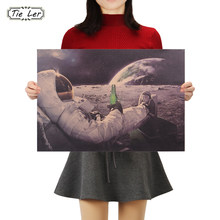 TIE LER Classic Outer Space Earth Astronauts Drink Relaxing Moon Landing Fantasy Kraft Paper Poster Home Decor Wall Sticker(China)