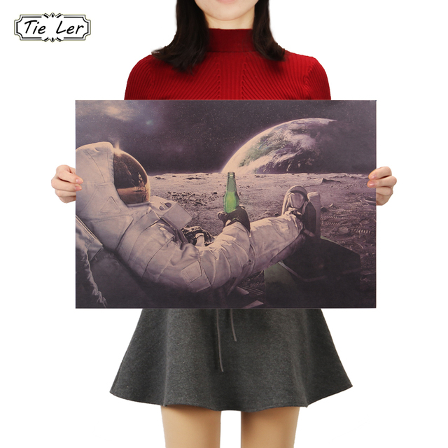 TIE LER Classic Outer Space Earth Astronauts Drink Relaxing Moon Landing Fantasy Kraft Paper Poster Home Decor Wall Sticker