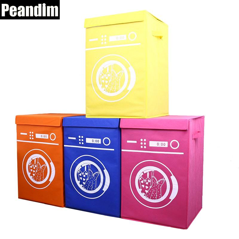 PEANDIM Large Washing Machine Pattern Laundry Basket Non woven Foldable Barrel Home Hotel Supplies Organizer Kids Toys Container