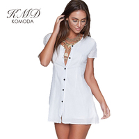KMD KOMODA Solid White Single Breasted Mini Dress Women Clothing Back Lace Up Vestido Slim Brief Female Summer Dress