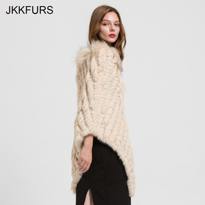 Image 3 - 2019 Womens Poncho Real Rabbit Fur Knitted Shawl Raccoon Fur Collar Top Quality Large Cape Fashion Style S1729