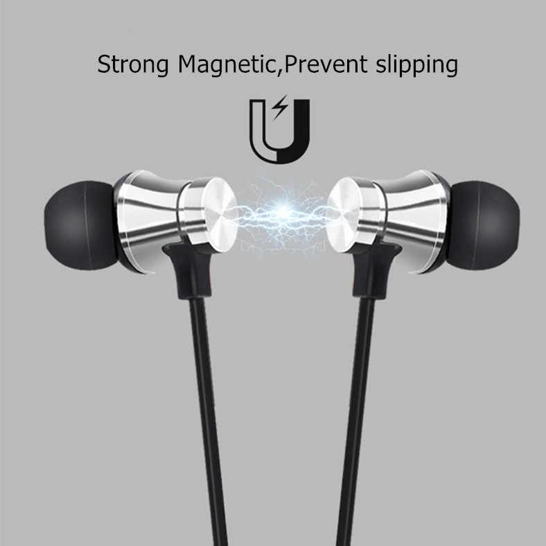 Magnetyczne bezprzewodowe słuchawki Bluetooth Stereo sport wodoodporne słuchawki douszne bezprzewodowe douszne zestaw słuchawkowy z mikrofonem do IPhone 7 Samsung