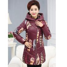 Печать новый среднего возраста женщин вниз пальто куртки мать плюс размер мода косой молнии с капюшоном высокое качество ватник F3738
