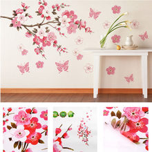 bathroom Flower Butterfly Wall Stickers decal Removable Peach Wall Sticker wallpaper quote poster decor para bedroom decoration(China)