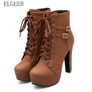 Image 1 - Новые женские ботильоны на платформе и высоком каблуке, женская обувь на шнуровке, женские короткие ботинки с пряжкой, Повседневная Дамская обувь