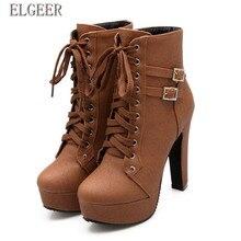 Nowe botki dla kobiet platformy wysokie obcasy kobiet wiązane buty damska klamra krótki but na co dzień buty damskie