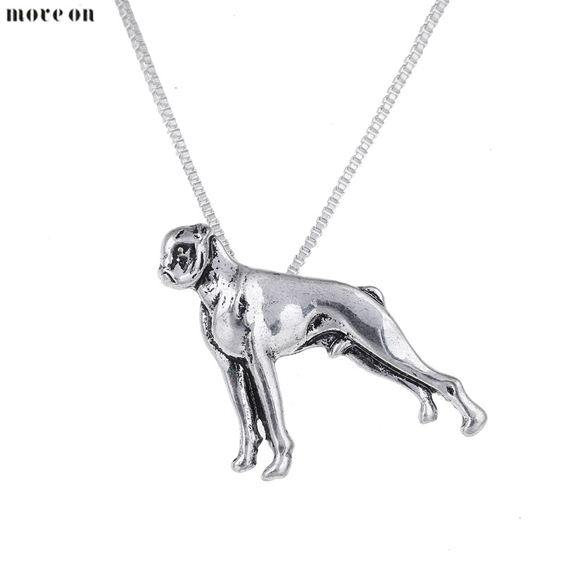 10PCS Fashion Silver Boxer Necklace Boxer Pendant Dog Pendants Necklaces Jewelry Long Chain Halloween Gift
