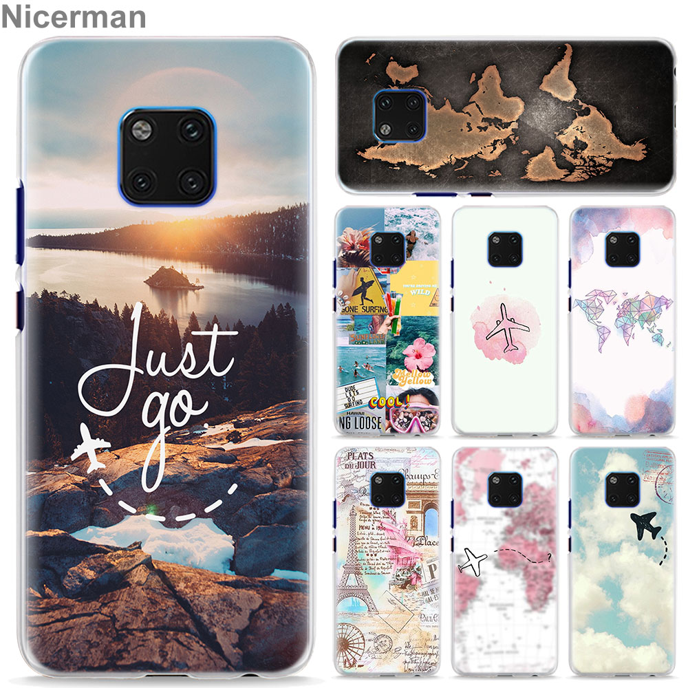 World Map Travel Plans Phone Case for Huawei Mate 10 20 Lite 20 Pro P30 Pro P30 P20 Lite P Smart Plus Cover Case Coque