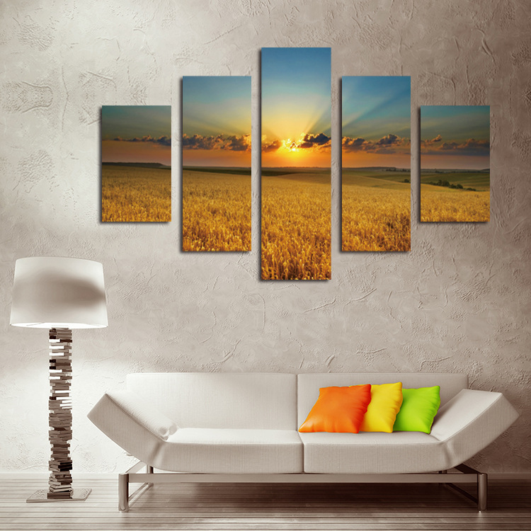 5 Piece Canvas Art Wall Pictures Gold Wheat Field in the Sunset Canvas Painting HD Print Picture Home Decoration Caudros