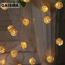 10 м 100 ротанговый шар Светодиодная гирлянда Рождественская гирлянда свадебная комната сказочные огни украшение для праздничной вечеринки осветительная цепь