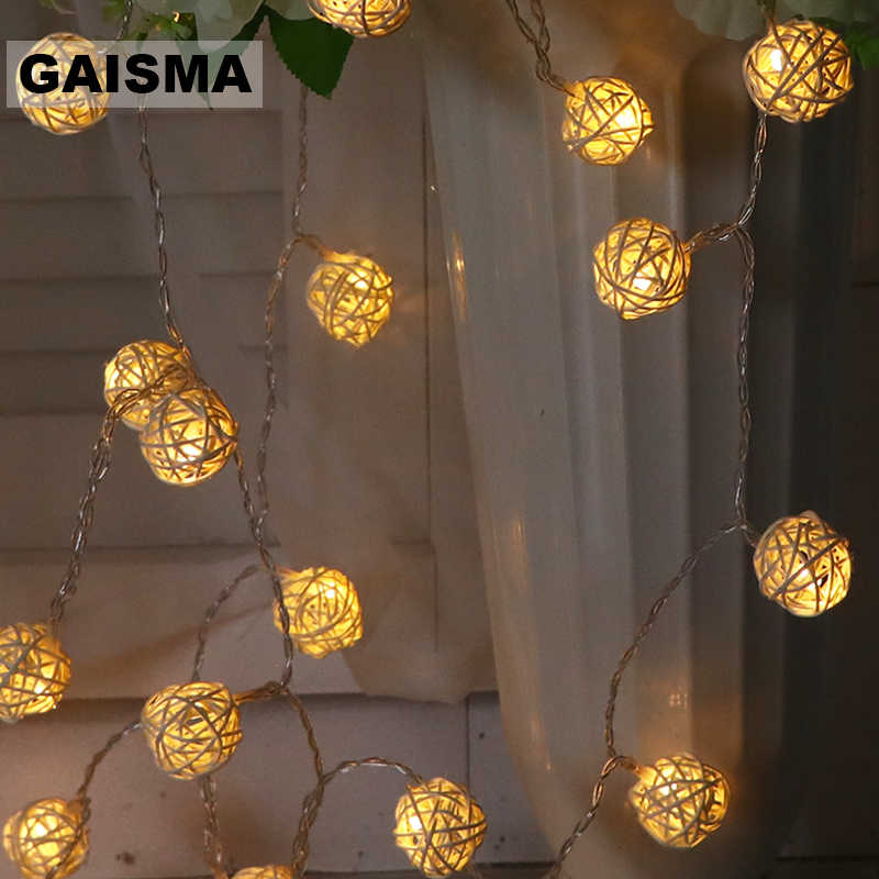 10M 100 Rattan Ball Light LED String Christmas Garland Wedding Room Fairy Lights Decoration For Holiday Party Lighting Chain