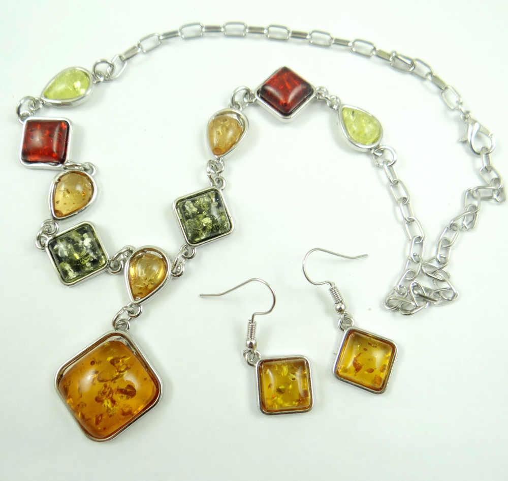 Moda szlachetne modernistycznych teardrop złoty miód wciśnięty Ambers naszyjnik kolczyk biżuteria dokonywanie zestawy darmowa wysyłka A1