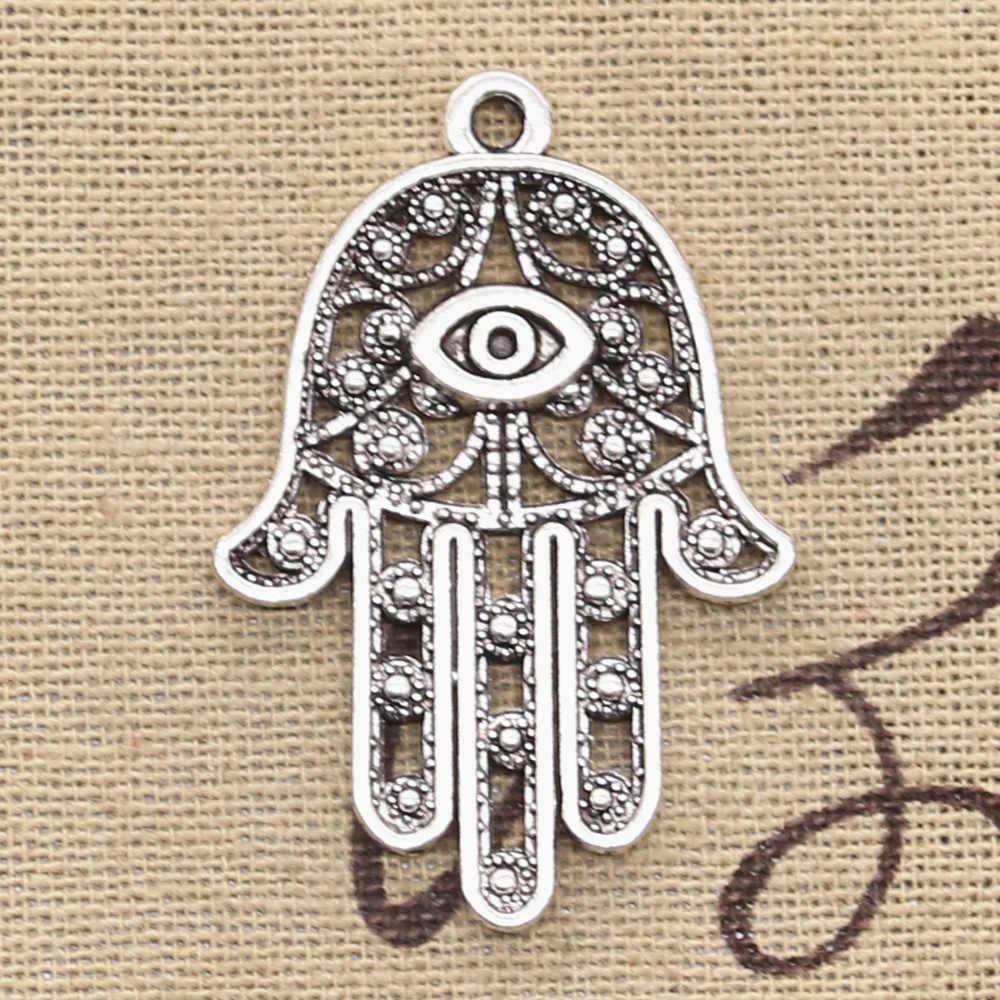 Large Hamsa Hand of Fatima Antique Silver Plated Turkish Jewelry