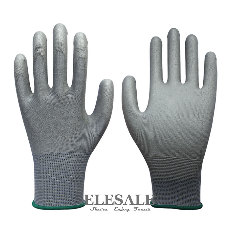 1 Pair Work Safety Gloves Nylon Knitted Gloves With PU Coated For Builder Driver Gardener Repairer Protective Gloves
