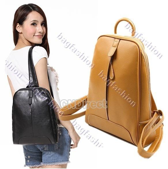 Pure Color lady bag casual bags women fashion leather backpack handbag Shoulder Bag