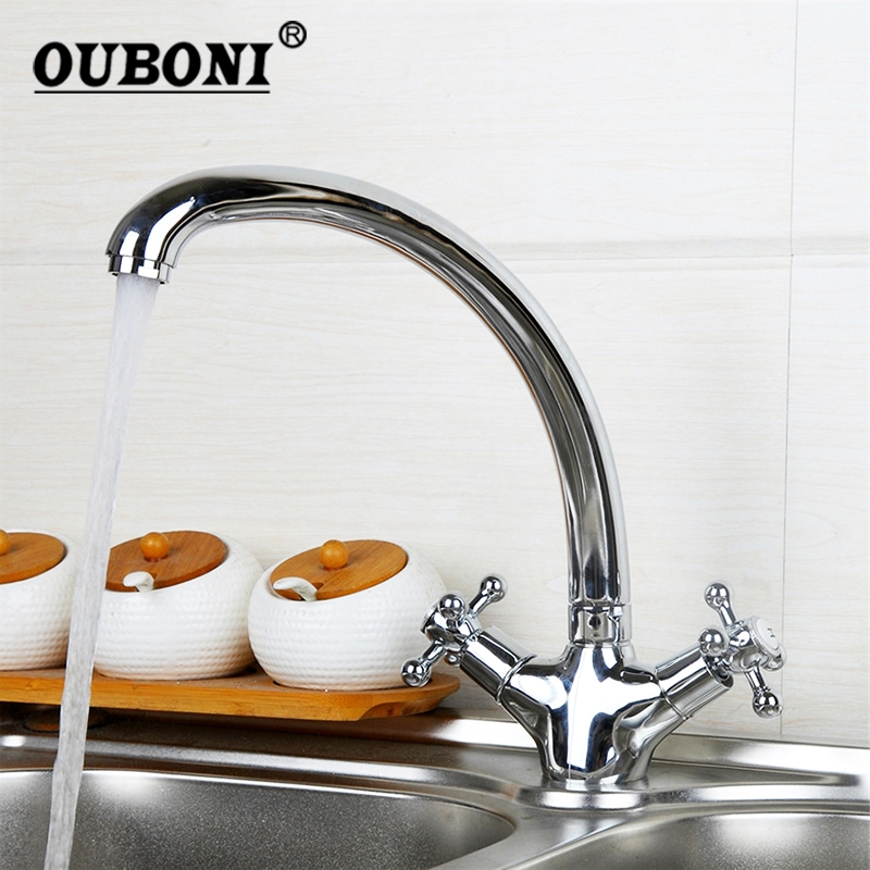 OUBONI 360 Swivel Stream Spout Kitchen Sink Faucet Two Handles Chrome Brass Finish Kitchen Tap Hot & Cold Water Mixer Tap пантилеева а ред сост журнал высокой моды 1840 1845