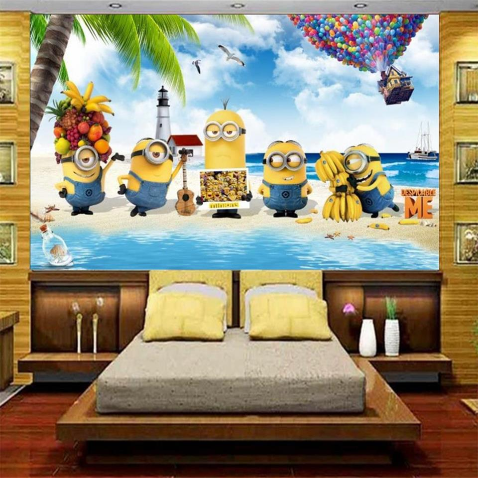 3d photo wallpaper custom mural kids room Minions beach coconut tree painting sofa TV background non-woven wallpaper for wall 3d