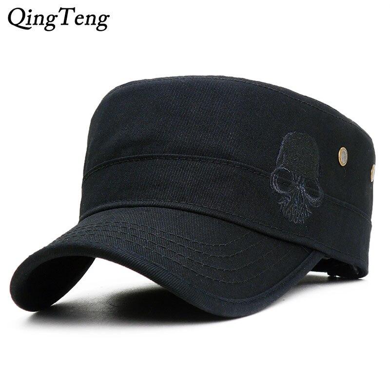 Skull Embroidered Logo Men Military Hats Adjustable Snapback Flat Cap Unisex Army Cadet Cap Baseball Cap Outdoor Climbing Gorras бейсболк мужские