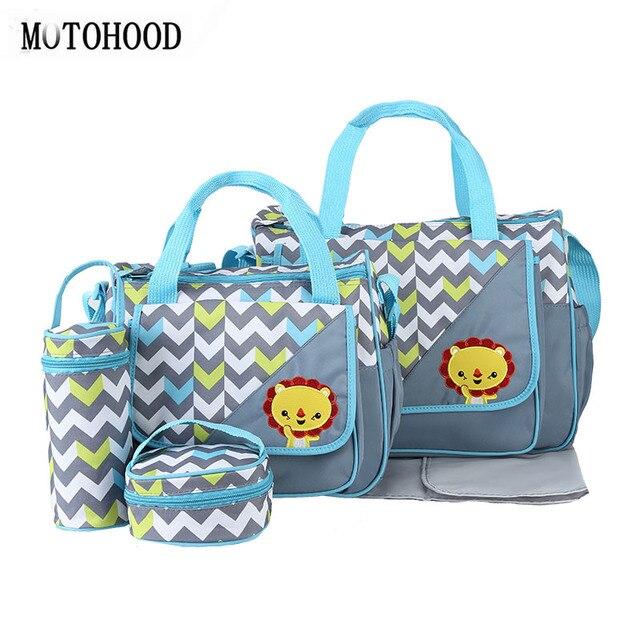 MOTOHOOD 5 pcs Conjuntos Mamãe Mudando Saco de Fraldas Do Bebê Sacos de Fraldas Para A Mãe Cuidados Com o Bebê carrinho de Criança Carrinho De Saco Organizador 30*43*14 cm