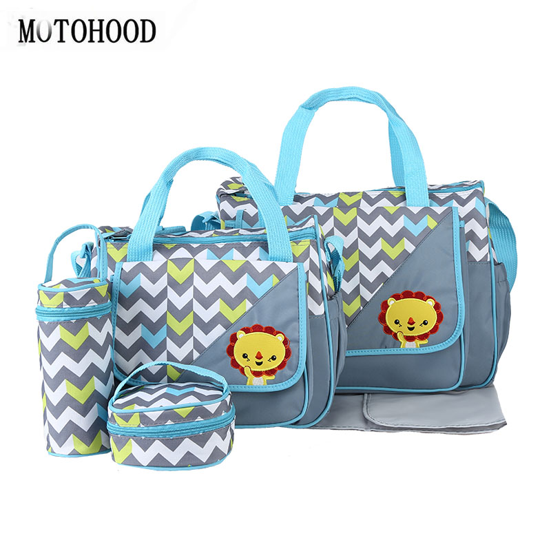 MOTOHOOD 5pcs Baby Diaper Bags For Mom Changing Nappy Bag Sets Mommy Baby Care Carriage Stroller Bag Organizer 30*43*14cm thermal insulation baby diaper bag for stroller waterproof nappy changing bags mommy stroller cart bag cooler bag for mom