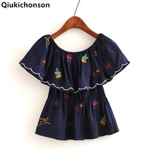 Qiukichonson off shoulder tops ladies 2018 Summer Kawaii Girlish Embroidery Ruffle Blouse Baby Doll Waisted Peplum Tops Cropped