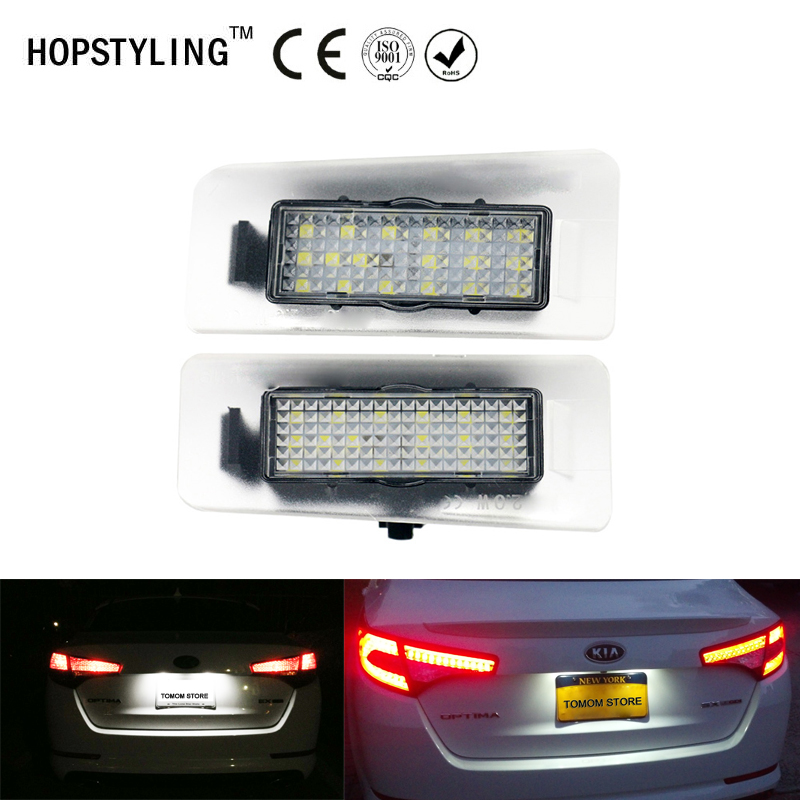 18 SMD 2x No Error car styling LED License Plate light For Kia Ceed Cerato Forte auto rear number plate lamp replacement direct fit for kia sportage 11 15 led number license plate light lamps 18 smd high quality canbus no error car lights lamp