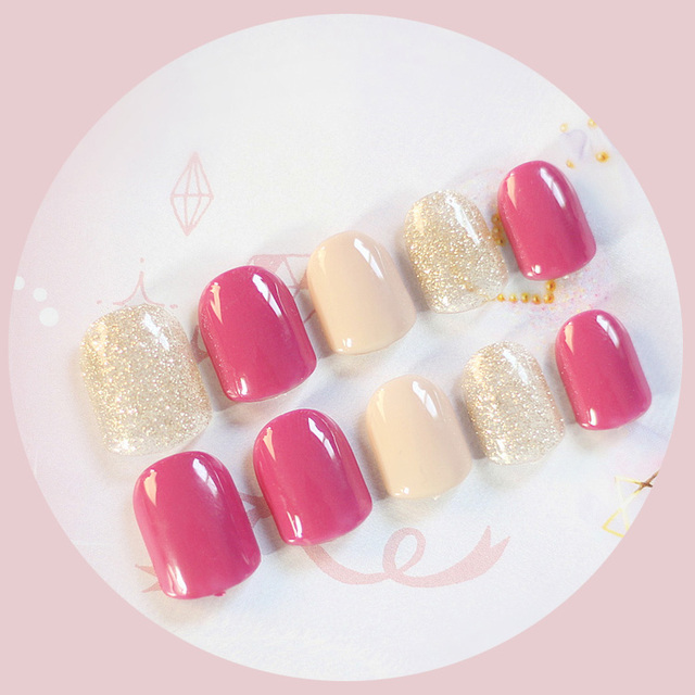 Shining pure color with rose red Japanese gel nail tips Cute candy ...