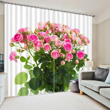 Modern Romantic Pink Rose 3D Luxury Blackout Window Curtains For Bedding room Living room Hotel Drapes Cortinas Para Sala