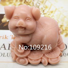 New Product!!1pcs 3D Coin Pig (zx207) Food Grade Silicone Handmade Soap Mold Crafts DIY Mould