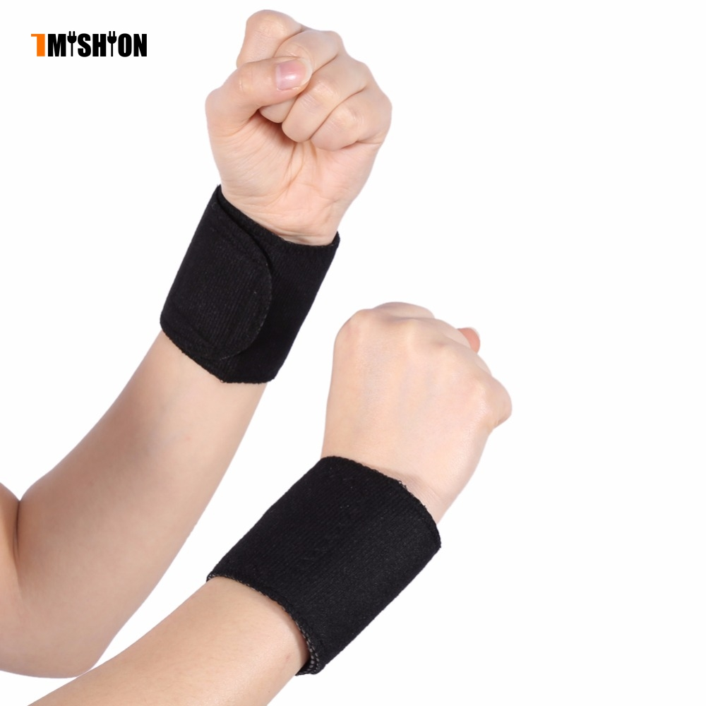 1 Pair Wrist Support Braces Sprain Forearm Protector Tourmaline Magnetic Massage Spontaneous Self-heating Therapy Protector Belt