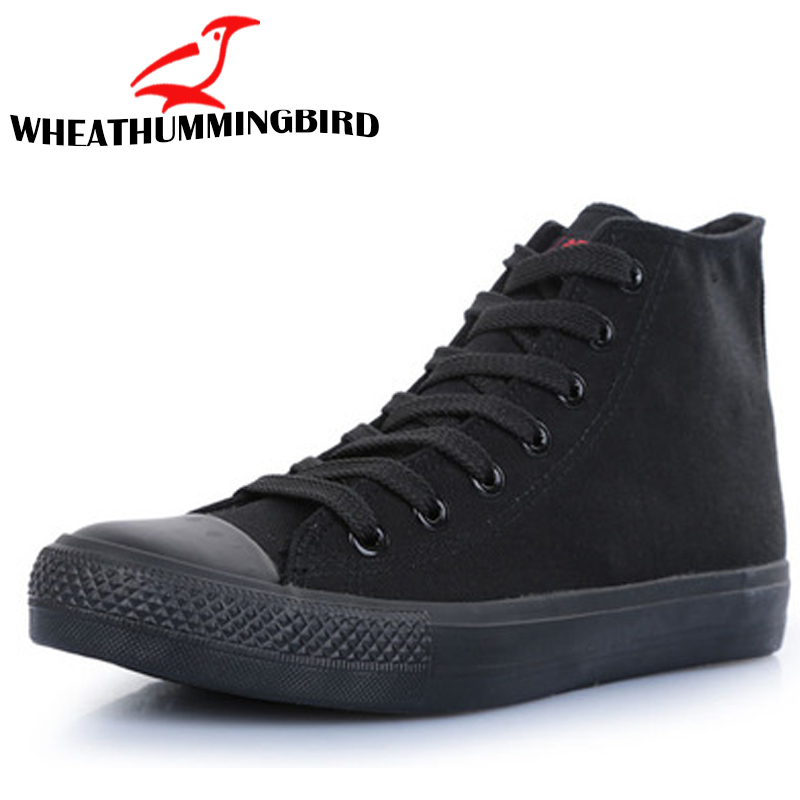 7d65014a61f New Fashion men Sneaker high top   low all black Boy Male Casual Canvas  Shoes Breathable
