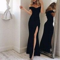 Womens Off Shoulder Long Dress Evening Formal Party Maxi Dress Robe Longue Femme