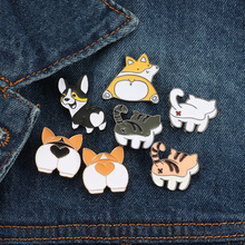 Corgi butt enamel pin Cute puppy brooch cute cat ass badge cartoon animal jewelry give away love dog person gift
