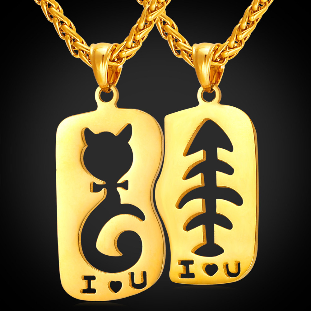 2016 2pcs couple pendant stainless steel necklaces for lovers cat fish necklace suit christmas gifts I LOVE U Carving P284