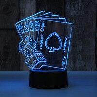 3D Poker Shape Lamp 7 Color Lamp 3D Led Night Light For Kids Touch USB Table