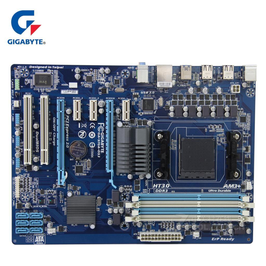 Gigabyt GA-970A-DS3 100% Original Motherboard DDR3 DIMM USB3.0 32G Gigabyt 970A 970 Desktop Mainboard SATA III Boards AM3+ Used