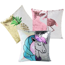 DIY Mermaid Sequins Pillowcase Color Changing Reversible pillow cover Unicorn flamingo cartoon 40 40