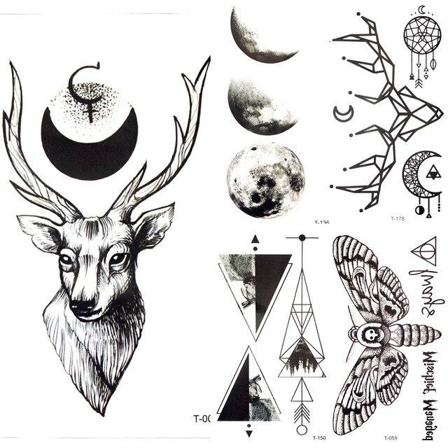 3d forêt noir cerf elk lune tatouage temporaire tribu hommes corps